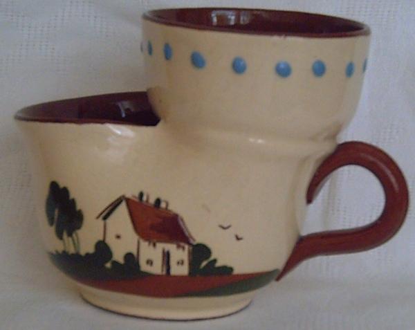 Devonshire Pottery, Shaving Mug with Cottage decoration