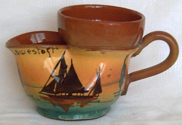 Torquay Pottery, Shaving Mug with Ship decoration