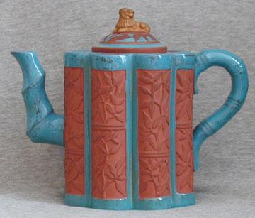 Watcombe Pottery Teapot with celeste decoration