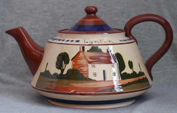 Watcombe Pottery 4-pint Teapot marked \'Gunn\'s Lynton\' on base