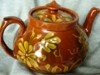 Aller Vale Teapot with a Linthorpe Pottery style pattern