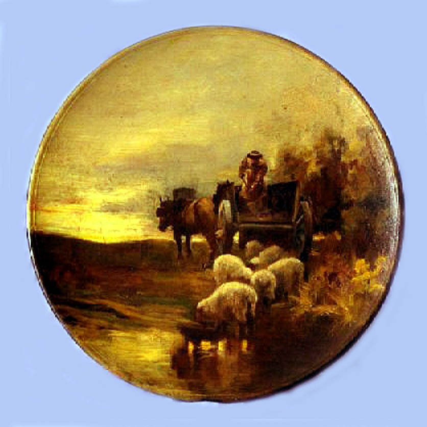 Torquay Terracotta Company. Hand painted plaque with a farm cart and sheep.