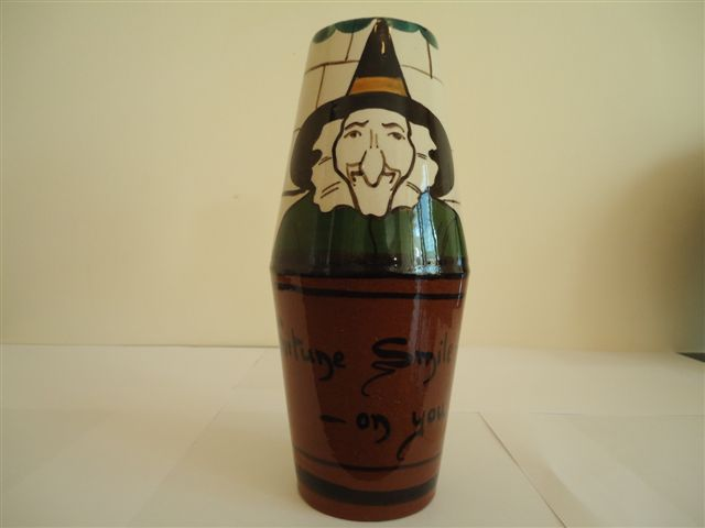 Tor Vale Pottery Vase decorated with a Witch
