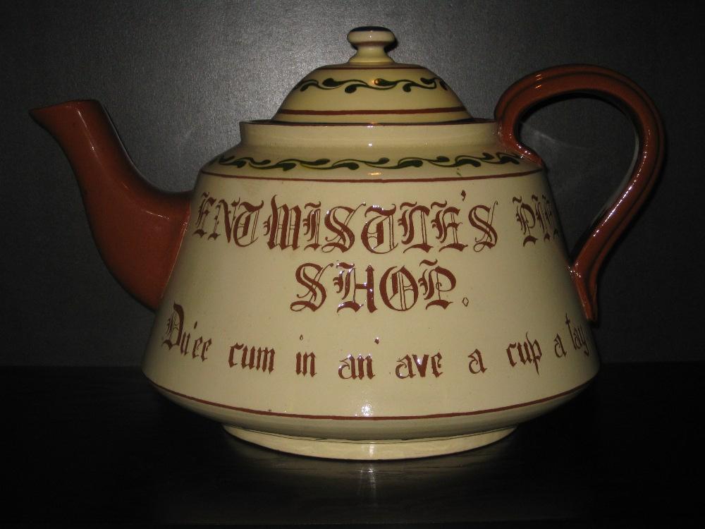 Watcombe Pottery Giant 16-pint Teapot, Motto side