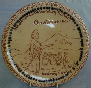 Aller Vale plate for Christmas 1891, given to a child with a perfect attendance record that year, very very rare