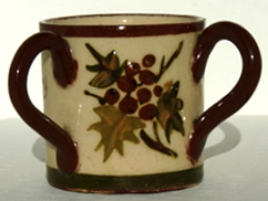 Aller Vale miniature 3-handled Tyg, with Holly