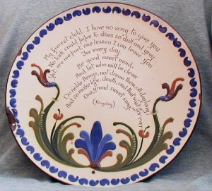 "Longpark 11"" Plate with poem by Charles Kingsley"