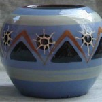 Blue Vase decorated by Deirdre Wood