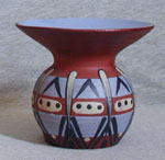 """Blue Babbacombe Pottery vase with unusual decoration 5"""" high"""