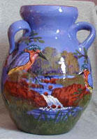 Devon Tors kingfisher decorated vase in relief with two handles